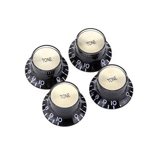 Musiclily Pro Imperial Zoll Größe Tone Potiknopf Top Hat Reflector Knobs für USA Les Paul SG E-Gitarre, Schwarz mit Gold Top (4er Set)