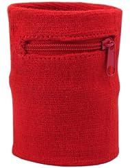Suddora - Muñequera de deporte con cremallera, multicolor, rojo
