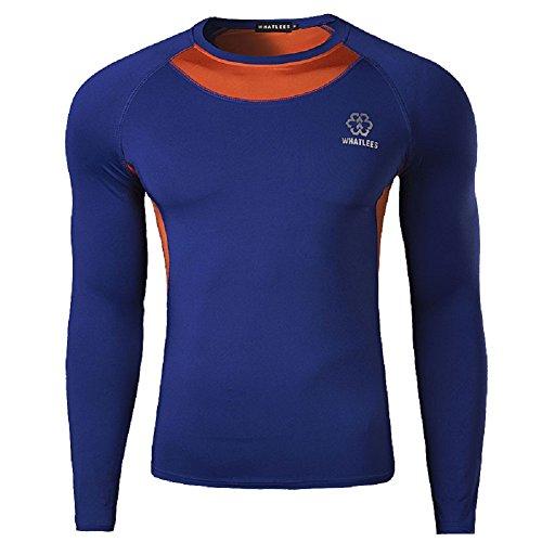 BOMOVO Herren Freizeit Langarm Henley T-Shirt Trainings Tunika Sugan elastisch Fitness-Kleidung Reiten dark blau