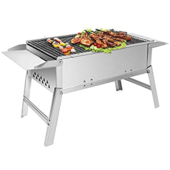 BBQ Inox Charbon de bois Grill Barbecue Pliable Barbecue Portable Extérieur Camping Barbecue