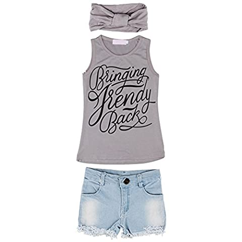 Balai 3PCS Set Gris T-shirt gilet avec lettres imprimées + Bleu shorts en jean + bandeau Tenues Filles des enfants 2-7ans