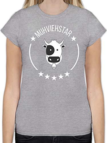 Landwirt - Muhviehstar - XL - Grau meliert - L191 - Tailliertes Tshirt für Damen und Frauen T-Shirt