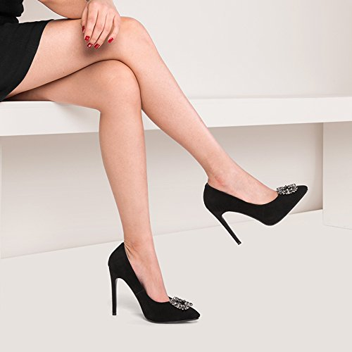 Shoes Heel Fashion fine Sandali 10 cm Heel Shoe donna High Solid shaoge color Heel Sharp Fall Single Female Shoes per Y0PPHEwqnx