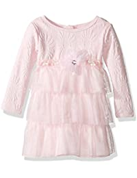 Youngland Baby Girls' Textured Knit to Tiered Mesh Dress