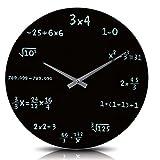 """Wanduhr """"Mathematic"""" in Schwarz - mit mathematischen Formeln statt Zahlen"""