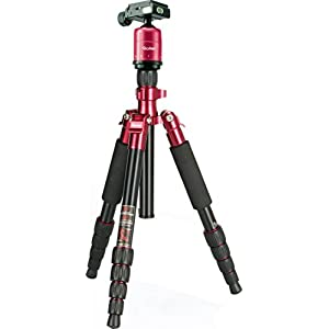 Rollei Compact Traveler No. 1 - Light travel tripod - Aluminium - Arca Swiss compatible - Incl. ball head and quick release plate - Red