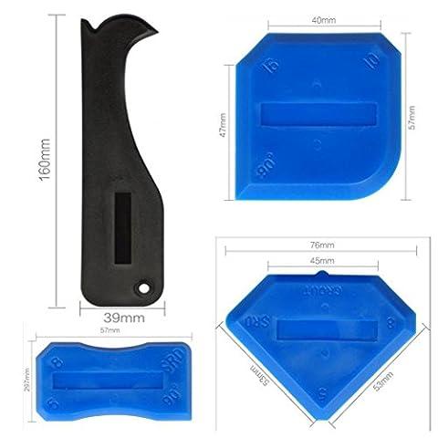 JZK® 4 pièces outil d'étanchéité au silicone outil de calfeutrage kit set scraper set coulis caulk outil set remover applicateur pour le coin interne