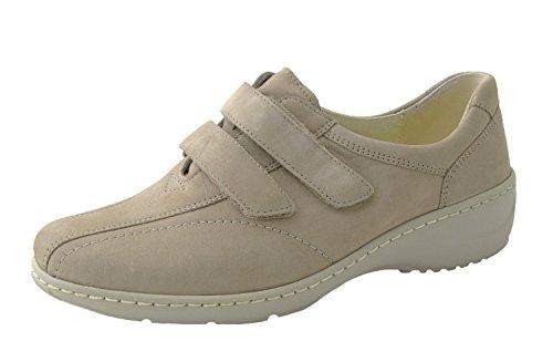 Waldläufer signore Velcro scarpe Kya 607302-191-094 beige, formato 37-41, cuoio, larghezza K Double Wide intercambiabile Beige