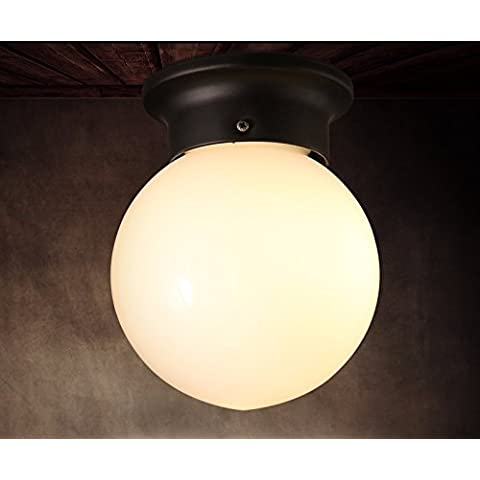 Artomode Villaggio retrò Ventilatore industriale da soffitto rotonda luce vetro della luce a soffitto,Bianco luce,150*180mm