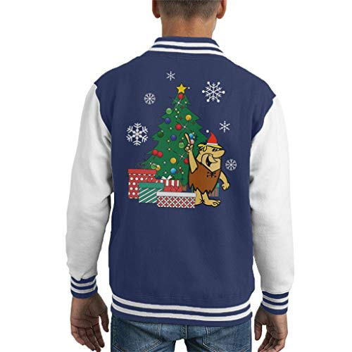Cloud City 7 Barney Rubble Around The Christmas Tree Kid's Varsity Jacket -