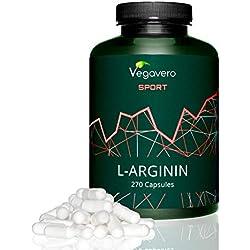 Vegavero SPORT | L-Arginine PURA 99.7% | Nieuw ontwerp | GEEN ADDITIEVEN | Getest in laboratorium Vasodilator + sportsupplementen + aminozuren 270-capsules | Duits product | Veganistisch Vegavero