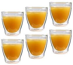 """Feelino 6x 200ml """"Rondorello"""" doppelwandiges Kaffeeglas & Teeglas, edle Thermogläser mit Schwebeeffekt"""