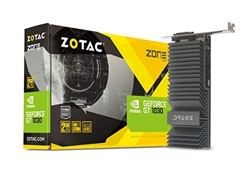 Zotac GeForce GT 1030 Zone Grafikkarte (NVIDIA GT 1030, 2GB GDDR5, 64bit, Base-Takt 1227 MHz / Boost-Takt 1468 MHz, 6 GHz, passiv gekühlt)