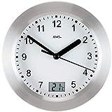 AMS AMS - Quarzuhr - Wanduhr - Tischuhr - wasserdichte Badeuhr - digitale Temperaturanzeige - Aluminiumfrontreif
