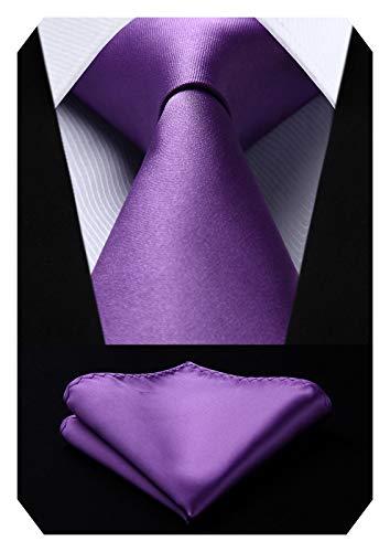 Hisdern Herren Solide Violet Tie Taschentuch Hochzeitsfeier Klassische Krawatte & Einstecktuch Set Violet Solid Tie