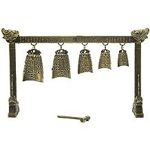 Muebles estilo Zen Oriental para él o ella, 25,4 cm cinco tibetano campana Gong Set