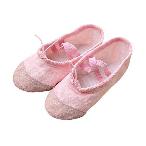 FNKDOR Ballerinas Schuhe, Mädchen 22-35 Segeltuch Ballett Pointe Tanzschuhe Fitness Gymnastik Hausschuhe (24, Rosa)