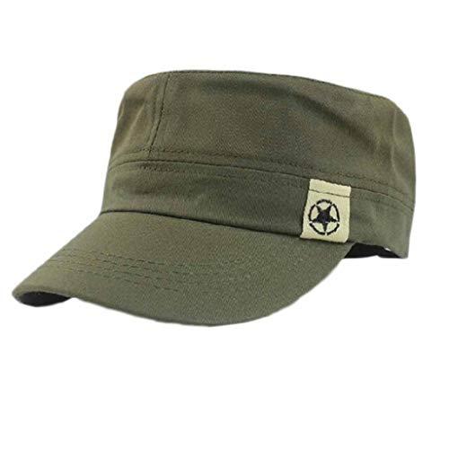 EUCoo MilitäRkappen-Sonnenhut Der Wilden Nietflach Spitzen Leistung des MilitäRhut Mode Trends Im Freien(Armeegrün)