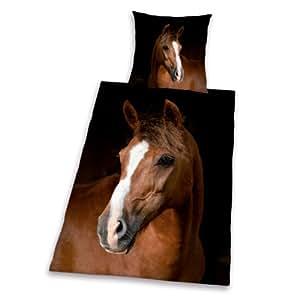 Herding 442470064 Young Collection Parure de lit en coton renforcé comprenant 1taie d'oreiller 65x100 cm et 1housse de couette 160x210 cm Motif cheval