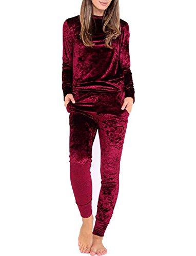 GTKC Damens Damen Pullover Sport samt Velours Sweatshirt Jogging Anzug 2 Stück Trainingsanzug Sportswear Weinrot S