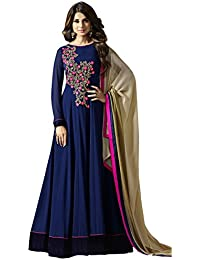 AnK Women's Blue Georgette Embroidered Long Semi-Stitched Anarkali Salwar Suit