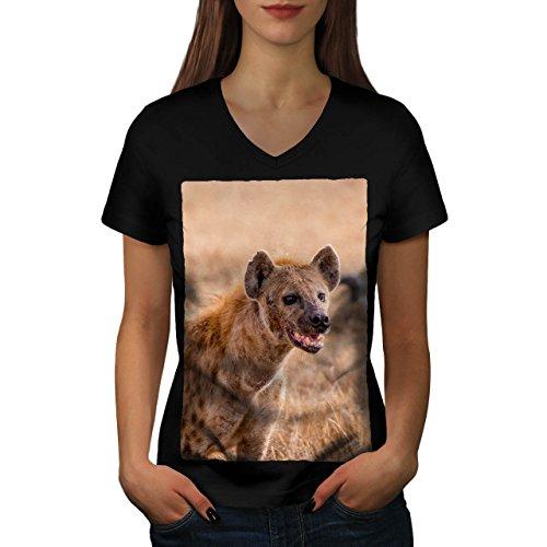 laughing-hyena-funny-dog-women-new-black-s-v-neck-t-shirt-wellcoda