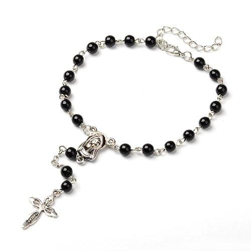 Base Band Idin rosario con perle di vetro nero e Madonna iagine