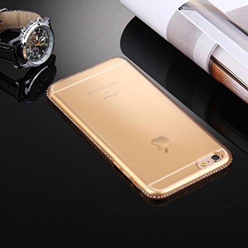 Phone case & Hülle Für iPhone 6 / 6s, Diamond verkrustet TPU Schutzmaßnahmen zurück Fall ( Color : Transparent ) Yellow
