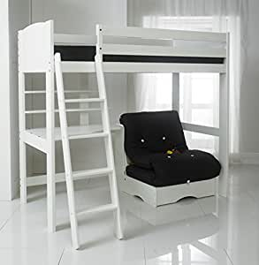 Scallywag Kids High Sleeper Bed with Black Futon, Desk and ...
