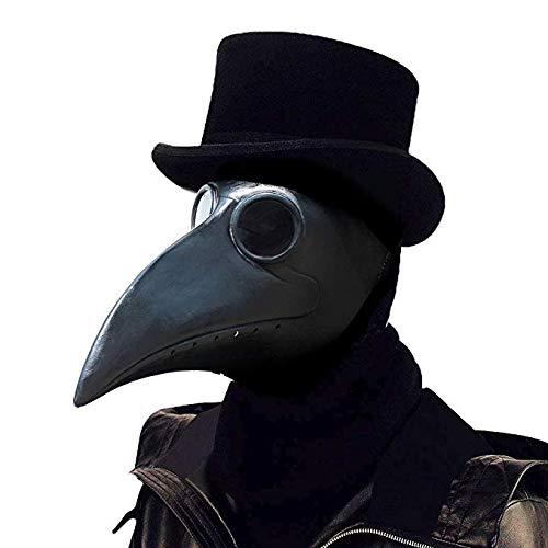 PartyCostume Seuchenarzt Vogel Masken Lange Nase Schnabel Cosplay Steampunk Halloween Kostüm Requisiten (Schwarz)