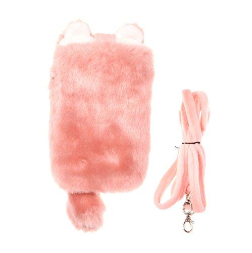 kiss-gold-3d-uni-handytasche-mit-schonem-kunstpelz-plusch-rosa