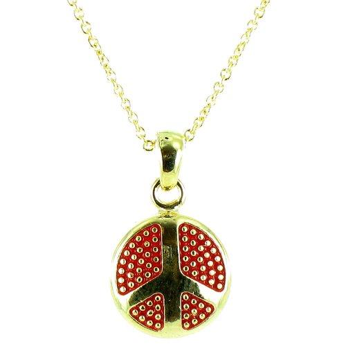 Body Bling Halskette mit rundem Peace-Symbol, Rot auf vergoldet, klein (70 Prominente Kostüm)