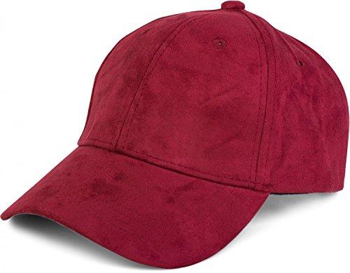 styleBREAKER 6-Panel Cap in Veloursleder, Wildleder Optik, Baseball Cap, verstellbar, Unisex 04023049, Farbe:Bordeaux-Rot