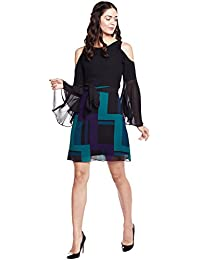 Athena black geometric print short dress with cold shoulder and flared sleeves