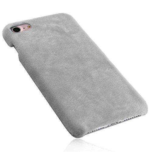 iPhone 7 Flaumig Hülle, iPhone 7 Hülle, Lifetrut Modische dünne [Flauschige Abdeckung] Glatte harte schützende Snap Case Shell für iPhone 7 [Rosa] E203-Grau