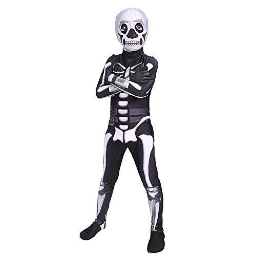 �m, Menschliches Skelett Siamesische Strumpfhose Erwachsene Kinder 3D Print Overall Cosplay Party Onesies Dress Up Zentai,Black-115~125 cm ()