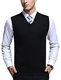 Yonglan Hombre Espesar Chaleco De Punto Color Sólido Cuello En V Sin Mangas Suéter Chalecos Negro M