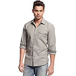 G GUESS MENS SHIRT LOGAN CONTRAST-CUFF BUTTON-DOW GREY FOREST PINE XXL