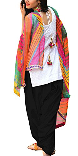Clickedia Women\'s Semi Stitched Heavy Slab Cotton White & Black Patiala Suit With Dupatta - Dress material