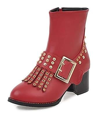 Easemax Damen Klassisch Brogue Rund Zehe Profilsohle Ankle Boots Stiefel Mit Absatz Schwarz 35 EU vaK0Bn73
