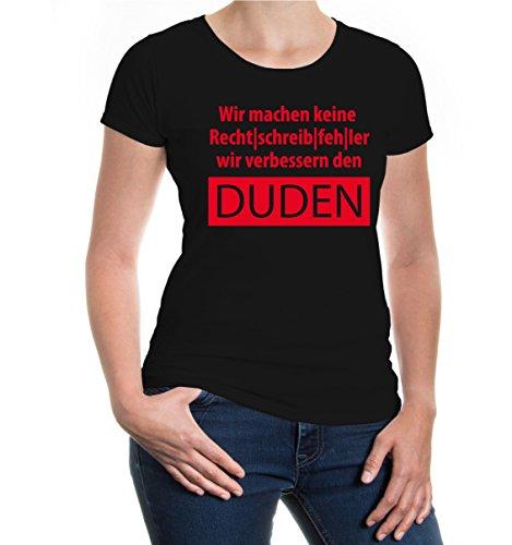 buXsbaum® Girlie T-Shirt Wir machen keine Rechtschreibfehler Black-Red