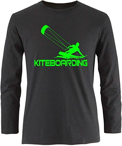 EZYshirt® Kiteboarding Herren Longsleeve Schwarz/Neongrün