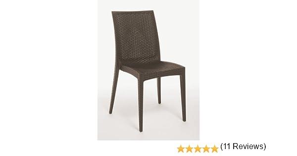 Sedie In Rattan Da Interno : Sedia pezzi sedia poli rattan sintetico giardino col marrone