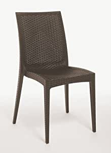 Sedie In Rattan Sintetico.Sedia 4 Pezzi Sedia Poli Rattan Sintetico Giardino Col Marrone