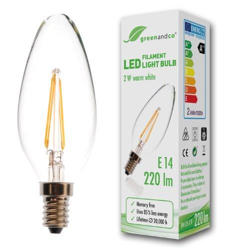 greenandco® CRI90+ Glühfaden LED Kerze, 2700K warmweiß Filament Fadenlampe 360° 230V AC nur Glas, nicht dimmbar, flimmerfrei, 2 Jahre Garantie