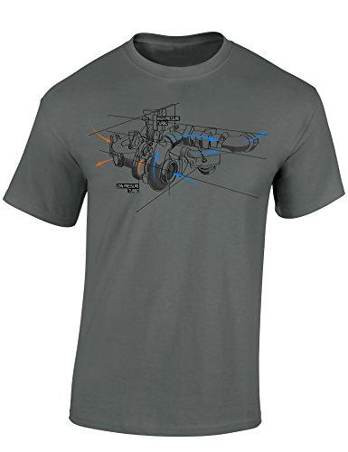 Baddery Petrolhead Industries: Turbolader Skizze - Auto Shirt - Geschenk für Autoliebhaber - T-Shirt für alle Tuning-, Drift-, und Motorsport Fans (L)