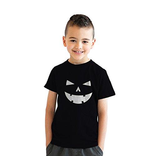 Youth Happy Tooth Glowing Pumpkin Face Tshirt Jack O Lantern Halloween Tee (Black) - XL - Jungen - XL ()