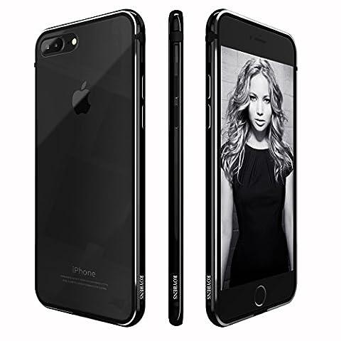 iPhone 7 plus Hülle, Roybens Metall Silikon 2 in 1 Extra Dünn Stoßfest Durchsichtig [Transparent] Schalen Clear Taschen für 2016 Apfel [Apple] iPhone7 plus, Diamant Schwarz [Jet Black]