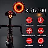 Dewanxin Luce Posteriore Intelligente per Bicicletta, Luce Posteriore Bici USB Ricaricabile, Accensione/Spegnimento Automatico, Luci per Bicicletta a LED Impermeabili IPX6