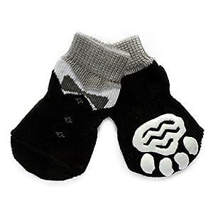 Pet Chaussettes Antidérapantes - Badalink Lot de 4 en Coton pour Chien Chat Taille L - Noir
